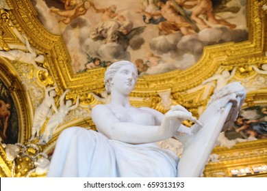 Florence, Italy - June, 5, 2017: fresco on a ceiling of Pitti palace in Florence, Italy