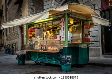 Florence, Italy - June 8, 2018: A food vendor cart truck that specializes in panino lampredotto, a sandwich filled with a type of  tripe made from the cows fourth stomach, a local favorite.