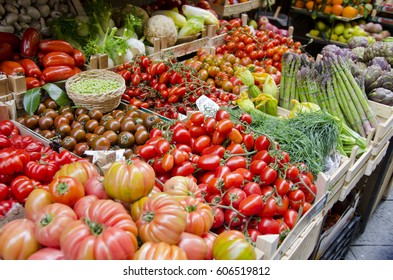 Florence, Italy is known as the birthplace of the Renaissance.  Pictured here is a well stocked fruit and vegetable stand on the streets of Florence.