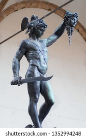 Florence, Italy - March 01, 2007: Bronze statue of Perseus Holding the Head of Medusa by Benvenuto Cellini in Florence, Italy.
