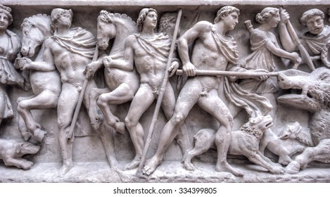 FLORENCE, ITALY, - MARCH 14, 2015 :Ancient Roman sarcophagus at Uffizi Gallery, one of the main museums in Florence, Florence, Italy