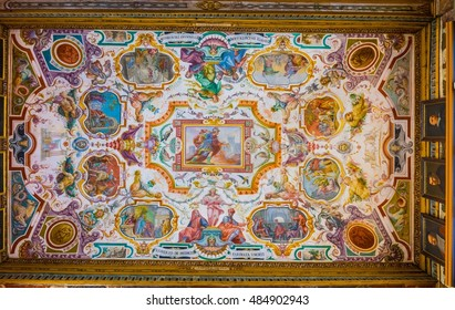 FLORENCE, ITALY, MARCH 15, 2016: Detail of ceiling of the uffizi gallery in florence