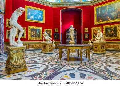 FLORENCE, ITALY, MARCH 15, 2016: Detail of the famous tribuna room inside of the uffizi gallery in florence