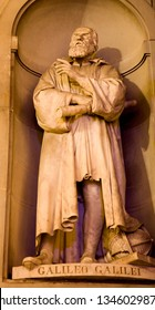 FLORENCE, ITALY - MARCH 17, 2010: The statue of astronomer Galileo Galilei on the facade of Uffizi gallery by Aristodemo Costoli (1803 – 1871).