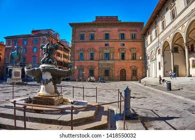 FLORENCE, ITALY - MARCH 2019: Narrow streets by the Piazza della Santissima Annunziata in Florence, Tuscany, Italy. Old traditional buildings in Gothic architecture style in Florence, Italy, Europe