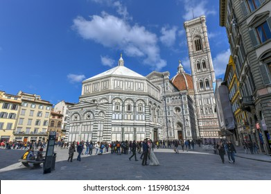 Florence, Italy - March 21, 2018: Duomo Santa Maria Del Fiore and Bargello in Florence, Tuscany, Italy