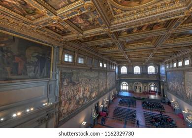 Florence, Italy - March 21, 2018: Salone dei Cinquecento inside Palazzo Vecchio in Florence, Italy.