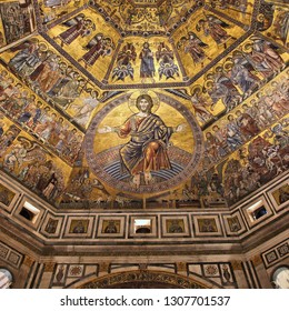 FLORENCE, ITALY - MAY 1, 2015: Interior view of the Baptistery of Saint John in Florence, Italy. The landmark features Florentine Romanesque style and has mosaics by Jacopo Torriti.