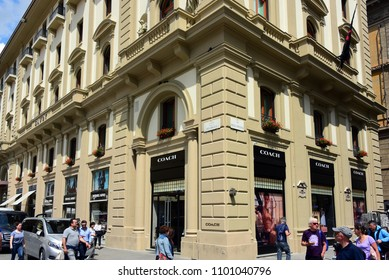 Florence, Italy - May 10, 2018:  Coach, an American multinational luxury fashion company, store in Piazza della Repubblica.