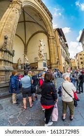 FLORENCE, ITALY - MAY 10, 2019: Historic Piazza della Signoria in Florence, Italy. Loggia Della SignoriaLoggia dei Lanzi