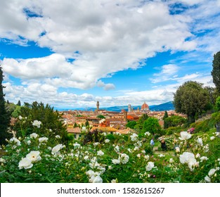 FLORENCE, ITALY - MAY 12, 2019: A magical view of Florence from the rose garden ( Giardino delle Rose )