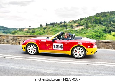 """FLORENCE, ITALY - MAY 17:  Fiat Abarth car along Via Bolognese during the 1000 miles on May 17, 2019 in Florence, Italy . """"Mille Miglia"""" is a car race attempted by many celebrities"""