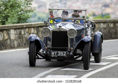 """FLORENCE, ITALY - MAY 18: O.M. 665 S Superba (1928) during the 1000 Miles on May 18, 2013 in Florence, Italy. """"Mille Miglia"""" is a car race attended by many celebrities."""