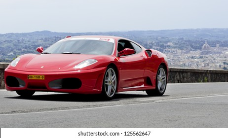 FLORENCE, ITALY - MAY 19: FERRARI F430 (2009) along Via Bolognese during the 1000 miles on May 19, 2012 in Florence, Italy