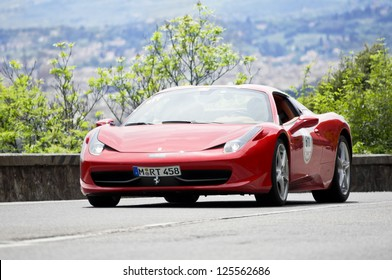 FLORENCE, ITALY - MAY 19: FERRARI 458 Spider along Via Bolognese during the 1000 miles on May 19, 2012 in Florence, Italy