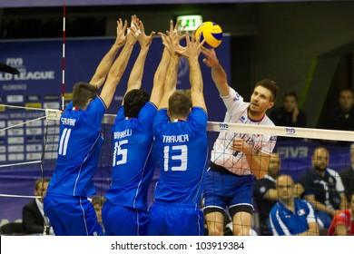 FLORENCE, ITALY - MAY 19: Italian block in action during a World League match between Italy and France at Mandela Forum, Florence, Italy on May 19 2012