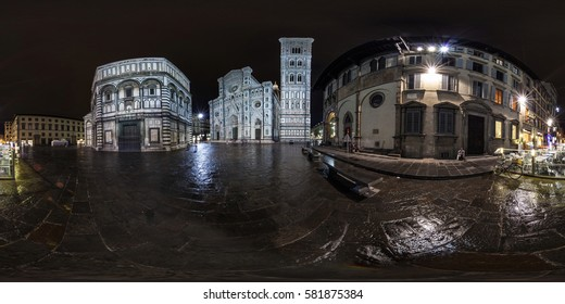Florence, Italy - May 2013: Full 360 equirectangular spherical panorama view of Duomo in Florence at night. Virtual reality content