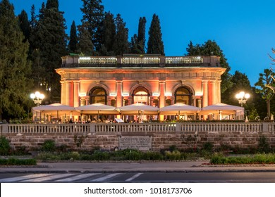 Florence, Italy, May 2017 - Elegant restaurant in Florence at twilight