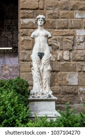Florence, Italy, May 2017 - Statue by Vincenzo de' Rossi e Baccio Bandinelli near the entrance of old palace in Florence