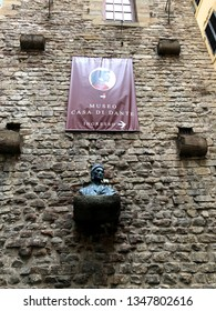FLORENCE / ITALY - MAY 27, 2018: Dante Museum with unidentified people. The Casa di Dante is a 3-floor museum which, with evidences and documents, shows the life and works of the great Italian poet.