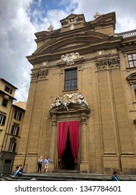 """FLORENCE, ITALY - MAY 29, 2018: Catholic Church called """"Complesso di San Firenze"""" in the square called """"Piazza di S. Firenze"""" Florence, Italy."""
