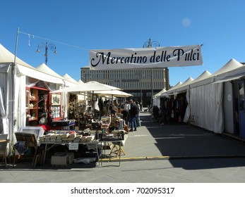 FLORENCE, ITALY - MAY 30, 2017: Mercatino delle pulci: one of the city's flea markets.