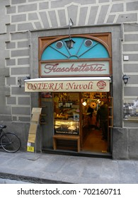FLORENCE, ITALY - MAY 30, 2017: the Fiaschetteria Nuvoli, one of the most famous, historical wine bars, in piazza dell'Olio.
