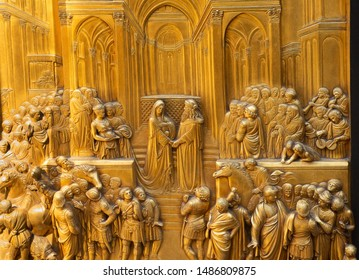 FLORENCE, ITALY - MAY 31, 2019: King Solomon meets the Queen of Sheba - one of ten bronze panels on the famous Ghiberti Gates of Paradise to the baptistery of St. John.
