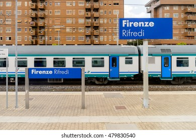 FLORENCE, ITALY - MAY 6, 2016: Trenitalia company train in movement near Florence. Trenitalia is the primary train operator in Italy