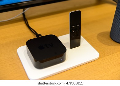FLORENCE, ITALY - MAY 6, 2016: Apple Tv in the Apple store at the Piazza della Republica in Florence, Italy. Apple is the multinational technology company headquartered in Cupertino, California,