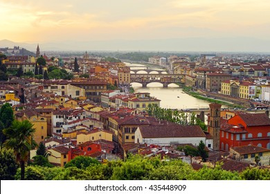 FLORENCE, ITALY, MAY 8, 2014: View from Piazzale Michelangelo of  Ponte Vecchio (Old Bridge) and and other bridgesover the Arno River, in Florence, Italy.