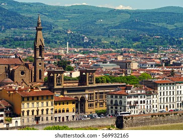 FLORENCE, ITALY, MAY 9, 2014: View of the Central national library of Florence, the bell tower of the Basilica of Santa Croce from the observation deck of the Boboli gardens. Tuscany, Italy