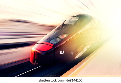 FLORENCE, ITALY - NOV26, 2016: Italian modern high speed train in Florence, Italy, in november26, 2016