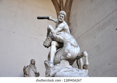 Florence / ITALY  - NOVEMBER 12,2017: Hercules and Nessus (1599) in Loggia dei Lanzi, Florence.