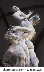 Florence / ITALY  - NOVEMBER 12,2017: The Kidnapping of the Sabine Women statue by Giambolognain the Loggia dei Lanzi in Florence, Italy.