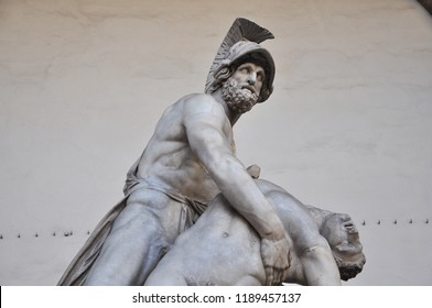Florence / ITALY  - NOVEMBER 12,2017: Menelaus supporting the body of Patroclus(Pasquino Group), a much-restored Roman sculpture in the Loggia dei Lanzi in Florence, Italy.