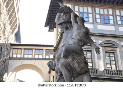 Florence / ITALY  - NOVEMBER 12,2017: The Rape of Polyxena Sculpture by Pio Fedi in the Loggia dei Lanzi in Florence, Italy.