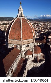 Florence, Italy - November, 22 2015: View of the Florence Cathedral (Cattedrale di Santa Maria del Fiore) from Giotto's bell tower.