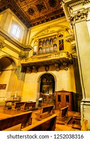 FLORENCE, ITALY - NOVEMBER 22 2016: Badia Fiorentina is an abbey and church to Fraternity of Jerusalem situated on Via del Proconsolo. Dante supposedly grew up across street in Casa di Dante.