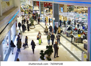 Florence, Italy - November 22, 2017: people shopping in a mall