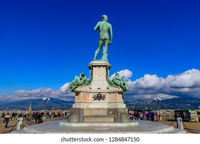 Florence / Italy - November 22 2018: Piazzale Michelangelo (Michelangelo Square) with bronze statue of David, the square with panoramic view of Florence, Italy