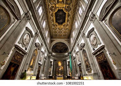 FLORENCE, ITALY -  NOVEMBER 7, 2017: Central nave Church interior in the Complesso di San Firenze (Complex of San Firenze)  17th-century Baroque building