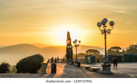 Florence, Italy - Oct 19, 2018. View of Piazzale Michelangelo at sunrise in Florence (Firenze), Italy.