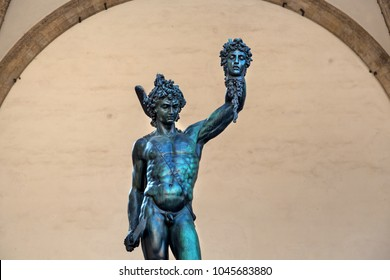 Florence, Italy - October 02 2017: Statue of Perseus with the Head of Medusa, a bronze sculpture made by Benvenuto Cellini, located in the Loggia dei Lanzi of the Piazza della Signoria