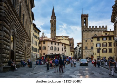 Florence / Italy — October 1, 2016: crowded streets in the central Florence in the evening near the Palazzo del Bargello