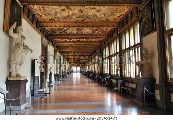 FLORENCE, ITALY,  - October. 12. 2009: Uffizi Gallery, East Corridor, one of the main museums in Florence, and among the oldest and most famous art museums of Europe, Florence, Italy