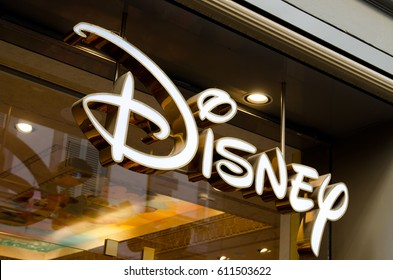 Florence, Italy - October 16TH 2011: The sign for a Disney retail store in Florence, Via dei Calzaiuoli in the vicinity of the Cathedral of Santa Maria in Fiore