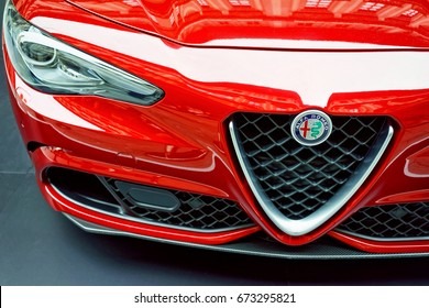 Florence, Italy - October 17, 2016: Italian Car Alfa Romeo Giulia Quatrifoglio detail, Florence, Tuscany, Italy