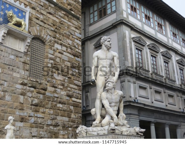 Florence / Italy - October 2012: Statue Hercules and Cacus made by Bandinelli at 1534 at Piazza del Signoria in Florence.