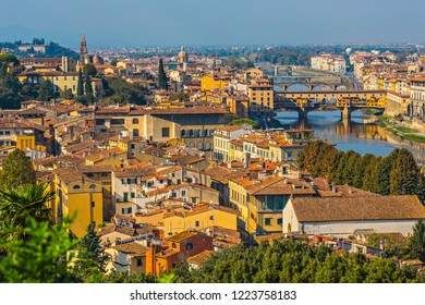 FLORENCE, ITALY - October 2018: Aerial view of Florence city, tiled roof of Florence, Toscana, Italy